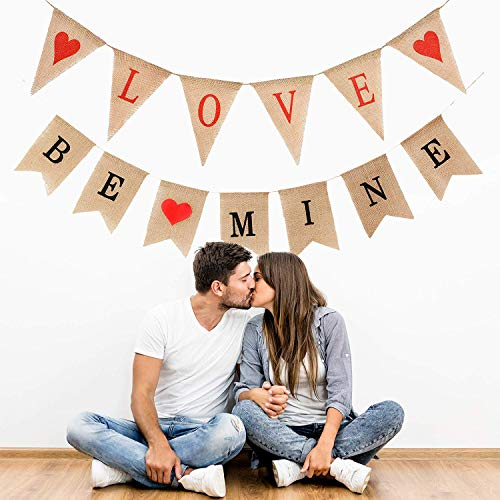 zeit Banner,Hochzeit Banner I Love You Banner und Rote Love Herzförmige Girlande für Hochzeit Party Vorschlagen Dekorationen ()