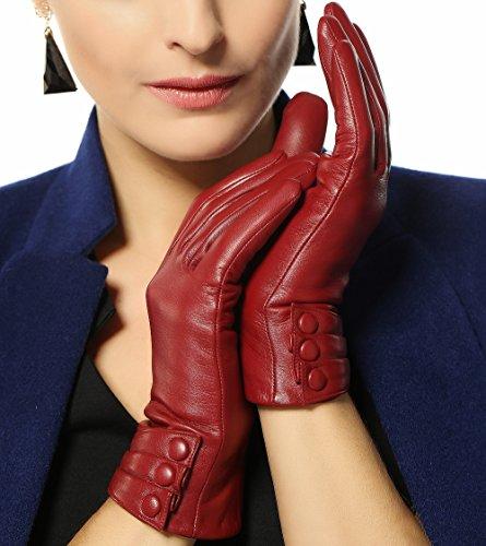 Damen Winterhandschuhe aus Nappaleder, mit Plüschfutter/100% KaschmirFutter und lederüberzogenen Knöpfen (7.5 ( Standardgröße ), Burgunder ( 2015 Neu/Kaschmir-Futter/Touchscreen ))