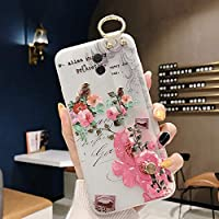 Huawei Mate 10 Semi-Transparent Floral Flower Pattern Cover for Girls Women TPU Silicone Wrist-Band & Mental Ring Case