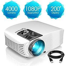 Projecteur HD, ELEPHAS Vidéoprojecteur Full HD 4000 Lumens Soutien 1080P Rétroprojecteur LED Compatible VGA HDMI AV USB Micro SD, Ordinateur, Smartphone, pour Football, Jeux Video, Films, Blanc