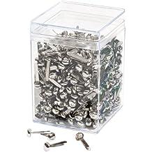 Wedo 112350054 Musterbeutelklammern (Rundkopf, Klarsichtdose (210-3), glanzveredelte Ausführung) 500 Stück, silber