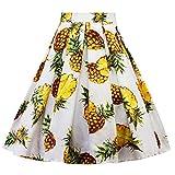 Kanpola Damen Frauen Karneval Mode Ananas Druck Plissee Knielang Tutu Rock (XL/Gr 42, Weiß)