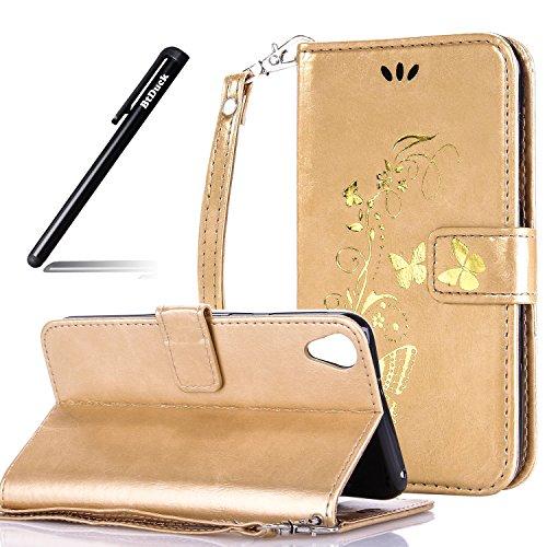 HTC Desire 820 Hülle,Tasche für HTC Desire 820 Schutzhülle,BtDuck Gold Glitzer Schmetterling n PU Leder Handyhülle Silikon PU Leder für HTC Desire 820 Cover Wallet Ledertasche BriefBumper Case - Gold