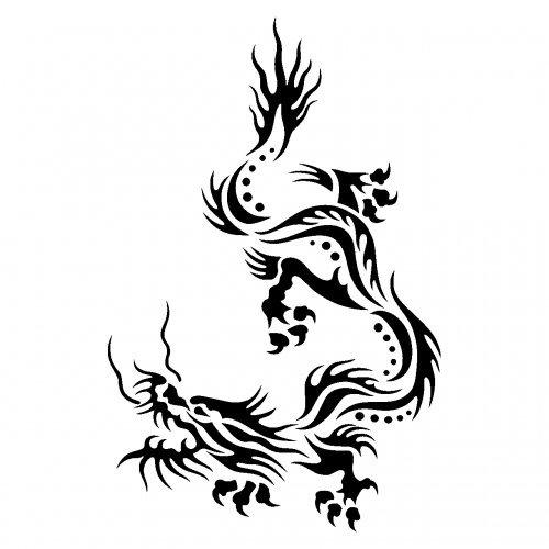 plot4u Drachen Tribal Aufkleber Motiv 138 in 8 Größen und 25 Farben (45x70cm schwarz) (Chinesische Kostenlose Drachen Bilder)