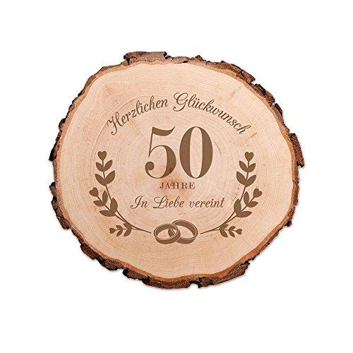 Casa Vivente Baumscheibe mit Gravur - Zur Goldenen Hochzeit - 50 Jahre in Liebe vereint - Scheibe aus Echtholz - Türschild und Wand-Deko - Geschenkidee für Paare zum 50. Hochzeitstag