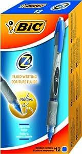 BiC Z4 Stylo roller-Grip caoutchouc-Pointe 0,7 mm-Trait 0,3 mm-Bleu-Réf 837682 Lot de 12