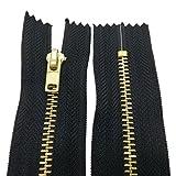 10 - 25 cm Metall Reißverschluss 4 mm Zipper nicht teilbar für Jeans Leder Taschen Geldbörse Hose Schwarz 12 cm