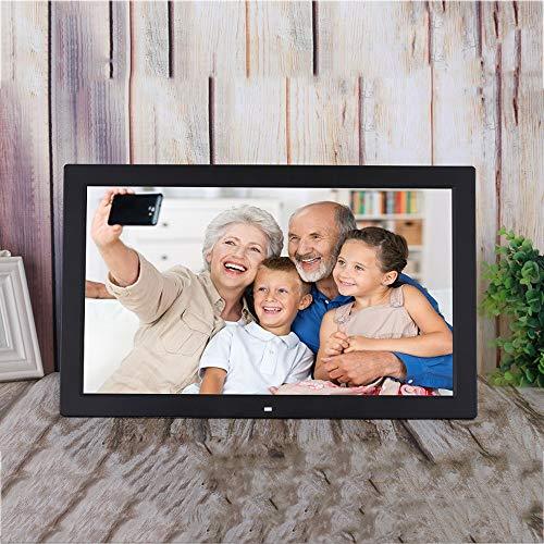 SMDFDN Neue 18,5 Zoll HD an der Wand befestigter digitaler Fotorahmen-Werbungs-Maschinen-Video-Player-Anzeige, Multifunktionsnoten-Knopf-Album-Digital-Album (Color : Black)