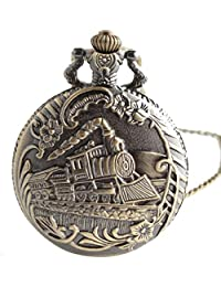 joielavie de reloj de bolsillo collar colgante modelo locomotora cuarzo bolsillo aleación Fantasía hombre mujer regalo