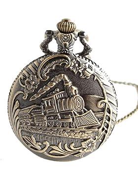 lekima Taschenuhr Taschenuhr Halskette Anhänger Modell Lokomotive Quartz Legierung Fantasie Herren Damen Geschenk