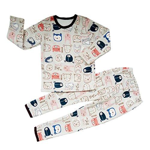 Hikfly 2pcs Conjunto de ropa interior de manga larga con ligero terciopelo coral tibio para Baby Girls Boys Niños, Sleeping Suit, Traje deportivo (top + pantalón) (Gris, 130/XXL)