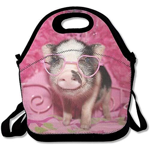 CHI Wiederverwendbare Lunchtasche mit rosa Brille, große und Dicke Neopren, isolierte Lunch-Tasche, Kühltasche, warm, mit Schultergurt, für Damen, Teenager, Mädchen, Kinder, Erwachsene