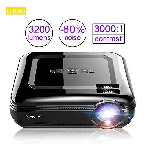 LED Beamer HD 3200Lumen LESHP Video Projektor Heimkino Beamer Full HD Multimedia Unterstützung, HDMI/AV/USB/VGA/ Micro SD/ 100-240V Anschlüsse -