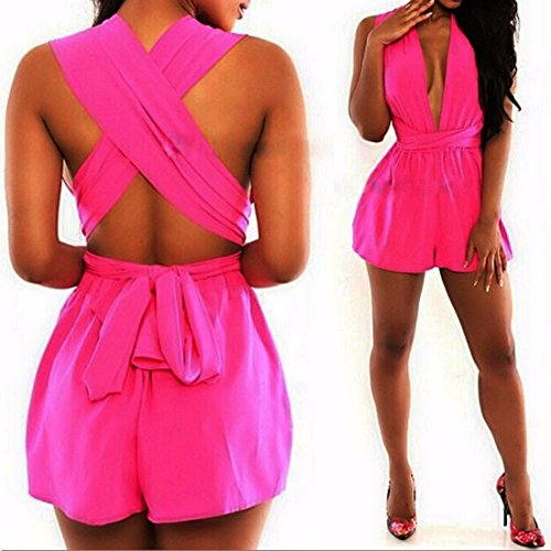 QIYUN.Z Femmes Sexy Profondes Barboteuses V Cou Ete Plage Bandage Backless Short Combinaisons Rose Rouge
