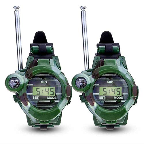 Ankon 2 stücke 7 in 1 Kinder kinderspielzeug walkie Talkie mädchen Jungen Uhren sprech Outdoor Spiele grüne Lichter mic (Grüne Mädchen-uhr)