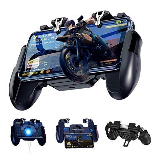 BorlterClamp PUBG Mobile Game Controller, mit Kühlung Ventilator und Empfindlich Trigger Joysticks, Gamepad für PUBG/Rules of Survival, Kompatibel für 4,7-6,5 Zoll Bildschirm Android- und iOS-Telefone -