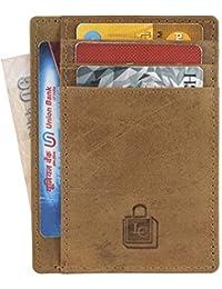 Le Craf RFID genuine Leather Credit card holder for Men/Women Front Pocket Slim Wallet