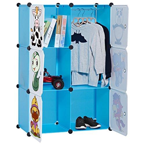 LANGRIA Armoire Penderie 6 Cubes avec Portes avec Dessins Animaux Meuble Séparateur de Pièce Étagère Modulable Rangement Vêtements Chaussures Jouets Sacs pour Chambre Enfants (6 Cubes, Bleu)