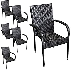 6 st ck poly rattan gartensessel stapelstuhl gartenstuhl stapelbar terrassenm bel balkonm bel. Black Bedroom Furniture Sets. Home Design Ideas