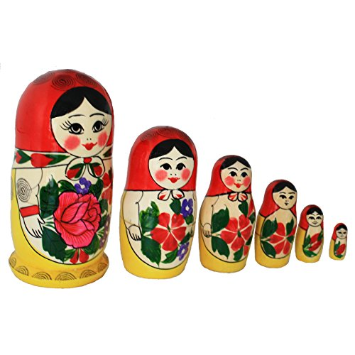 Matroschka, Babuschka, Matryoshka 'Rotes Tuch' 6-tlg. 13cm