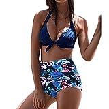 SANFASHION Damen Große Förderung Sommer Mehrere Stil Sammlung Bikini Aushöhlen Push up Badeanzug Bademode (Medium, HimmelblauA)