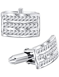 Mens Sterling Silver .925 Original Design Cufflinks, Fancy Curved Rectangle Shaped, With Channel Set Elegant Baguette...