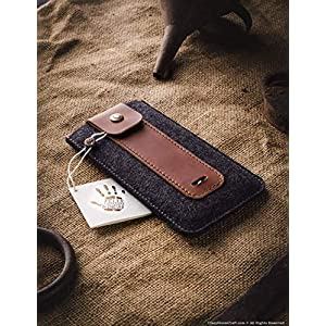 NEW iPhone 12/12 Pro / 12 Pro Max / 12 Mini Hülle/Etui, Brauner, Crazy Horse Leder, Wollfilz handgefertigter iPhone SE…