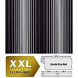 Papel pintado no tejido XXL EDEM 973-39 con dibujo grande rayas en relieve negro plata gris 10,65 m2