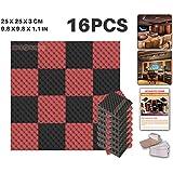 ACE Punch Lot de 16 panneaux acoustiques en mousse, structure alvéolée, 2couleurs, à monter soi-même, pour isolation phonique de studio, dispositif de fixation gratuit, 25x 25x 3cm AP1052, noir/rouge, 25 x 25 x 3 cm