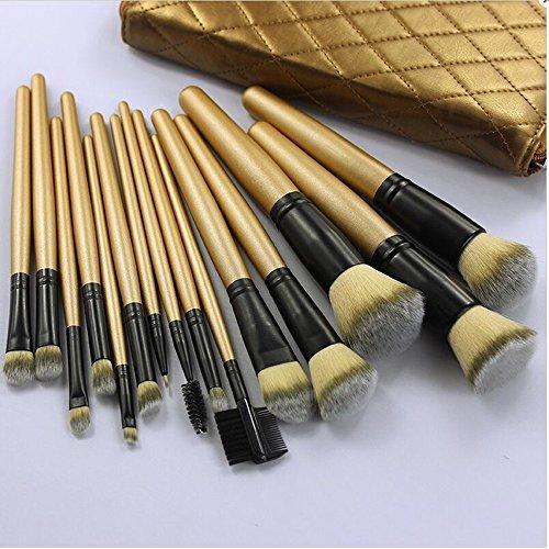 VALUE MAKERS 15pcs pinceaux de maquillage - pinceaux de maquillage Set - professionnels pinceaux de maquillage - Brown pinceaux de maquillage - Maquillage Pinceaux - pinceaux de maquillage - Maquillage Brush Set + Pinceaux Case