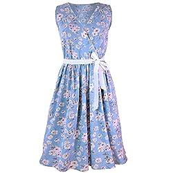 Womens Beach Sleeveless Floral Printed Dress, Kanpola Hot Sale Ladies Casual V-Neck Bandage Waist Belt Ruched Tank Top Knee Length A-Line Dress by Kanpola