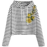 Geili Damen Damen Sweatshirt, Elegant Stickerei Sweatshirt mit Kapuze Lässige Streifen Langarmshirt Bauchfrei... preisvergleich bei billige-tabletten.eu