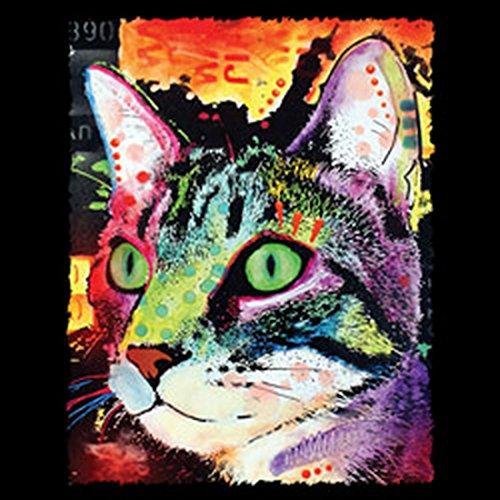 T-Shirt mit buntem Katzen Motiv - Curiosity Cat - Geschenk für alle Tierliebhaber und Katzenfans - schwarz Schwarz