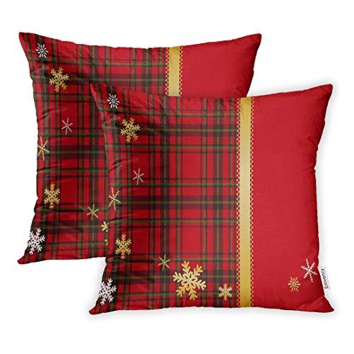 Emvency Kissenbezug mit rotem Schottenkaro und grünem Weihnachtsband und goldfarbener Schottlandspitze, 40,6 x 40,6 cm, 2 Stück -