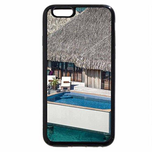 iPhone 3S/iPhone 6Coque (Noir) St REGIS Grand Villa d'eau Bungalow avec jacuzzi Bora Bora