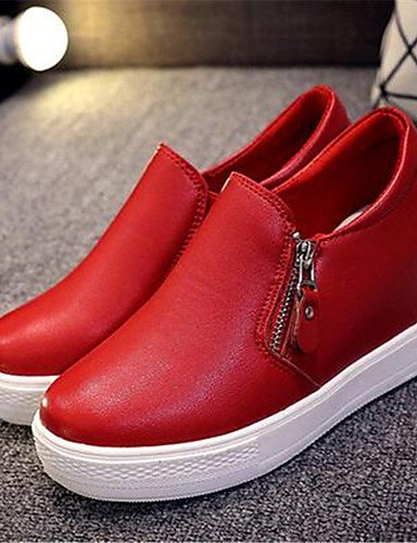 ZQ Scarpe Donna-Mocassini-Tempo libero / Casual-Zeppe-Zeppa-Finta pelle-Nero / Rosso / Bianco , red-us8 / eu39 / uk6 / cn39 , red-us8 / eu39 / uk6 / cn39 white-us6.5-7 / eu37 / uk4.5-5 / cn37
