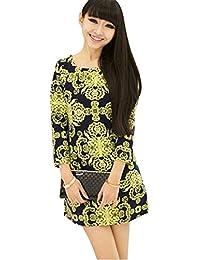 98e659569d3b DaBag Vestito Donna Vestito Eleganti Sexy Tops Lunghi Slim Abito Floreale  Multicolore Abiti Astate Autunno Dress