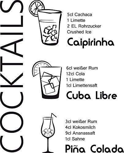 GRAZDesign Tattoo Küche Cocktails - Sprüche für Küche Rezepte - Wandtattoos Küche Esszimmer Caipirnha - Wandtattoo Küche Cuba Libre / 37x30cm / 070 schwarz / 300022_30_WT070