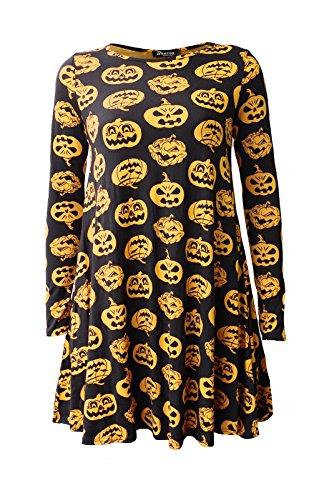 Damen Halloween-Schläger- Spinne Punkin Swing-Kleid EUR Größe 36-42 (XL (EUR 44-46), Schwarz Orange Kürbis)