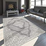 Paco Home Orient Teppich Modern 3D Effekt Meliert Schimmernd Ornamente In Grau Weiß, Grösse:160x230 cm