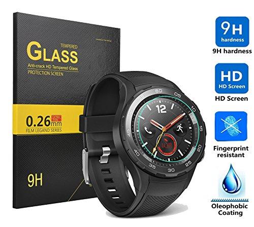 Huawei Watch 2 Schutzfolie,KuGi Huawei Watch 2 panzerglas folie -[1 pack] High Quality 9H Härte HD gehärtetem Glas-Schirm-Schutz für Huawei Watch 2 smartwatch.