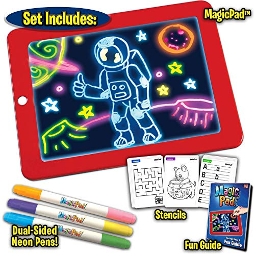 saanvishubhTM impex Magic Sketch Drawing Pad | Light Up LED Glow Board | Draw, Sketch, Create, Doodle, Art, Write, Learning Tablet | Includes 3 Dual Side Markets,
