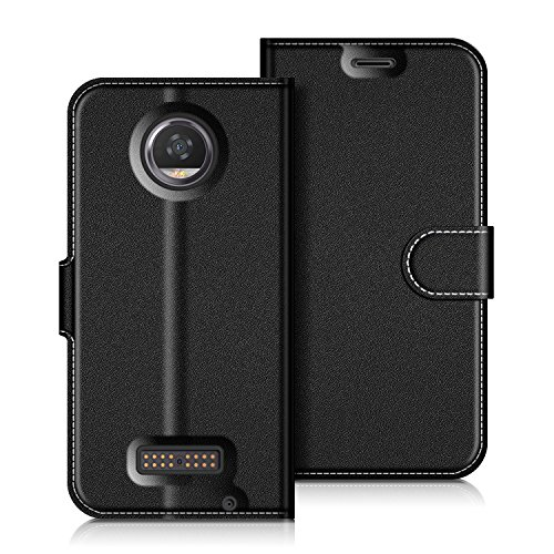 Coodio Motorola Moto Z2 Play Hülle Leder Lederhülle Ledertasche Wallet Handyhülle Tasche Schutzhülle mit Magnetverschluss / Kartenfächer für Motorola Moto Z2 Play, Schwarz
