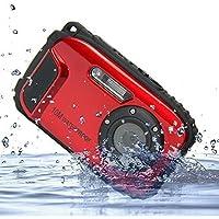 PowerLead Appareil Photo Numérique 16MP, Écran 2,7 Pouces, Caméra Étanche jusqu'à 10 m, Zoom x8 (Rouge)