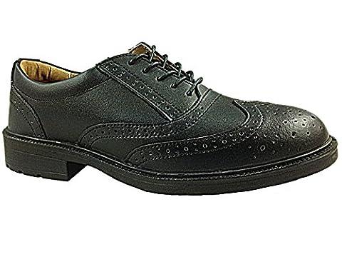 Mens Groundwork Black Brogue Leather Safety Steel Toe Cap Smart Work Shoes Size 7-11 (UK 10, GR01)