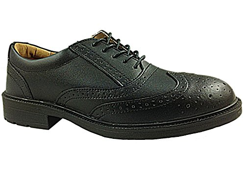 Da uomo Groundwork Nero Brogue Oxford in pelle di sicurezza punta in acciaio Smart Lavoro Scarpe Misura 7-11, nero (GR01), 44