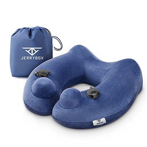 Jerrybox cuscino da viaggio, cuscino gonfiabile, a forma di u, si gonfia facilmente, leggero e portatile, perfetto da usare in viaggio, su aerei, treni, auto e molto altro