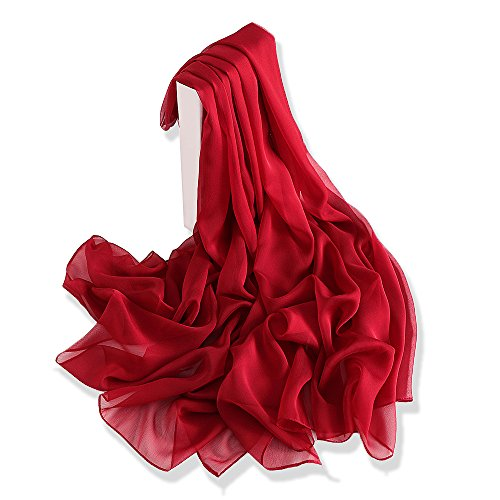 Yfzyt donna lungo sciarpa wraps chiffon scarf, signora elegante multicolore primavera estate sciarpa scialle stole coprispalle shawl soft beach scarves - vino rosso