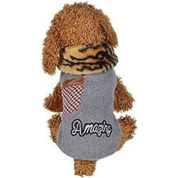Ropa para mascotas Disfraces de perro Invierno Calentar Acolchado Chaleco engrosamiento Ropa para cachorros Abrigo con capucha para mascotas Mono de perro Chaquetas de perro LMMVP (XS, Gris)