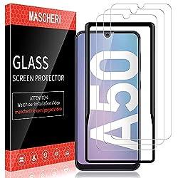 MASCHERI Schutzfolie für Samsung Galaxy A50 Panzerglas, 3 Stück,[Ausgestattet mit einem Einbaurahmen] 9H Härte Panzerglasfolie,[Anti-Kratzen] [Blasenfrei]
